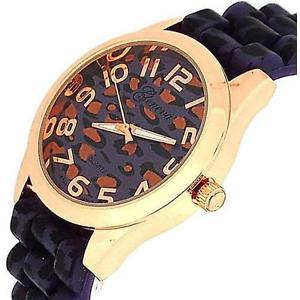 腕時計 ウォッチ レディースパープルピンクゴールドプリントファッションシリコンseoras morado rosa oro leopard print silicona reloj de moda ge0641a