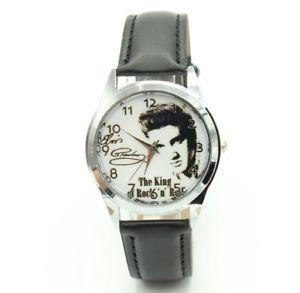 【送料無料】腕時計 ウォッチ エルビスプレスリーキングロックブラッククォーツアナログレザーロール