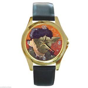 【送料無料】腕時計 ウォッチ スターウォーズヨーダフィンセントファンゴッホゴールデンメタルラウンドクロックレザーベルトstar wars yoda vincent van gogh redondo dorado reloj de metal correa cuero