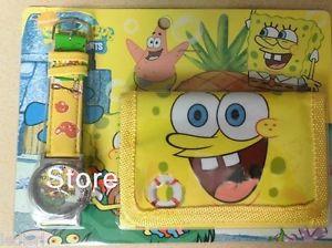 【送料無料】腕時計 ウォッチ スポンジファッションウォッチorologio spongebob e portafoglio watch in metallo bimbi moda bracciale gomma