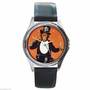 【送料無料】腕時計 ウォッチ チンパンジーラウンドクロックレザーベルトchilo el fumar human chimpanc redondo plateado reloj de metal correa cuero