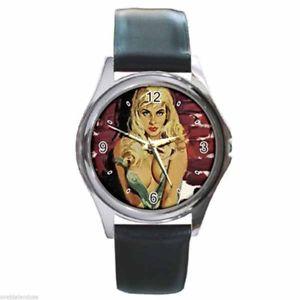 【送料無料】腕時計 ウォッチ ビンテージストリッパーアートシルバーメタルラウンドクロックdesnuda streets vintage buxom bad girl arte redondo plateado reloj de metal