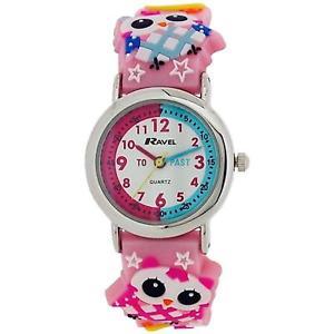 【送料無料】腕時計 ウォッチ ラヴェルラバーストラップフクロウピンクウォッチravel time teacher infantil 3d bho diseo rosa reloj con correa de goma