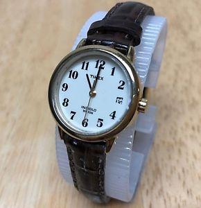 【送料無料】腕時計 ウォッチ アナログクオーツtimex indiglo mujer 30m color dorado cuero analogico reloj de cuarzo horas ~