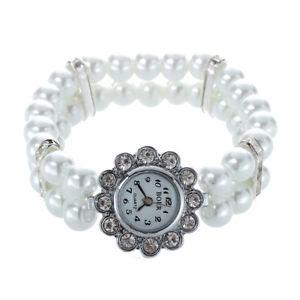 【送料無料】腕時計 ウォッチ メタルラインストーンアラームベルト5xreloj de metal rhinestone con correa de perlas 25mm blanco para las mujeo1e7