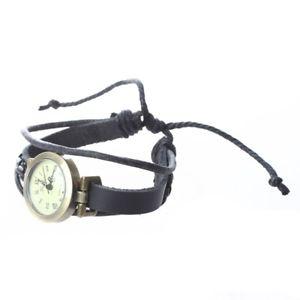 腕時計 ウォッチ ×レザークオーツレトロファッション5xreloj pulsera correa cuero pu cuarzo color negro retro mujer moda regalow7f5