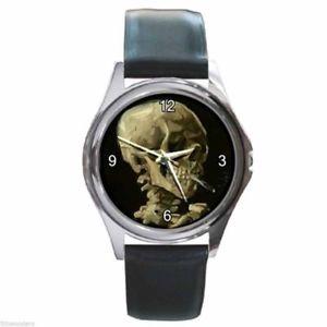 【送料無料】腕時計 ウォッチ フィンセントファンゴッホスケルトンタバコラウンドクロックvincent van gogh calavera esqueleto cigarrillos redondo plateado reloj de metal