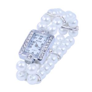 【送料無料】腕時計 ウォッチ ×ガラスビーズブレスレットブレスレットアラームストレッチ5xreloj de pulsera de metal de perlas de cristal brazalete estirado cuadrak7c2