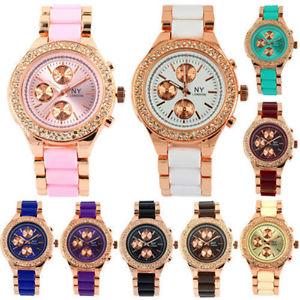 腕時計 ウォッチ ニューヨークロンドンジュエリーレディースゴールドネオンピンクny london con joyas ladies girls oro rosa nen de color cristal reloj de pulsera