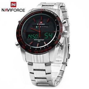 腕時計 ウォッチ ダブルアナログクォーツnaviforce nf9024 doble movimiento hombres reloj de cuarzo analogico led