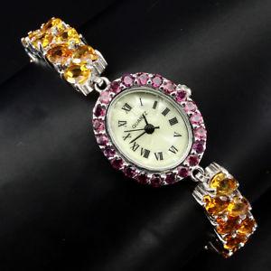 【送料無料】腕時計 ウォッチ スターリングシルバーシトリンplata esterlina 925 dos fila genuino citrino amp; rodolita reloj natural 712 en