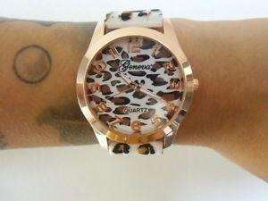 腕時計 ウォッチ ブランピンナップmontre fantaisie originale plastique lopard panthere cheetah blanc marron pinup