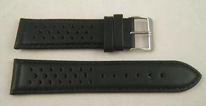 腕時計 ウォッチ ブレスレットドリルタイプノワールホイヤーカレラbracelet perfore  type heuer carrera en cuir noir coutures noirs taille 22