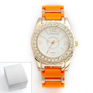 【送料無料】腕時計 ウォッチ スタジオゴールデントーンクリスタルオレンジライトアラームスタンダードstudio time tono dorado brillante cristal ligero naranja reloj std3232t nib