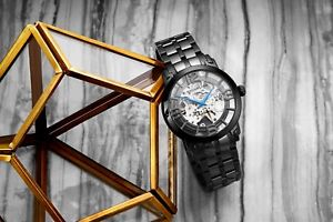 腕時計 ウォッチ ブラックステンレススチールアラームsthurling hombres acero inoxidable negro pvd automtico reloj 165b2b335b1