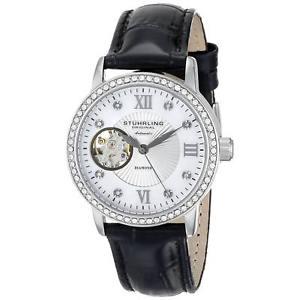 【送料無料】腕時計 ウォッチ ミリブラックカーフレザークロックsthurling mujer 34mm automtico negro cuero de ternero krysterna reloj con fecha