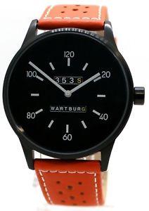 【送料無料】腕時計 ウォッチ ドイツヴァルトブルクアラームオレンジペンダントスチールwartburg reloj hombre made in germany 353s acero negro con agujeros perforados colgante orange