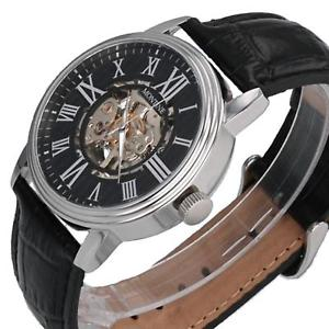 腕時計 ウォッチ ローマスケルトンブラックレザーストラップウォッチmontine nmeros romanos esqueleto automtico correa de cuero negro reloj mow4754gsk