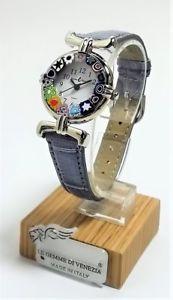 腕時計 ウォッチ オロロジオディムラノウォッチorologio donna acciaio pelle  watch in vetro di murano murrina millefiori