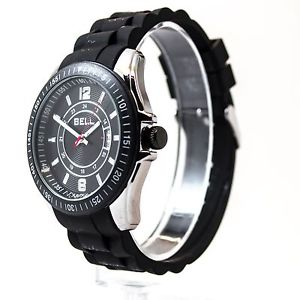 腕時計 ウォッチ シリコンブラックウォッチストラップベゼルrelojes reloj correa negra del silicio de campana con fecha y bisel giratorio rrp  99