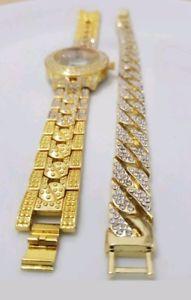 腕時計 ウォッチ ヒップホップウォッチアイスブレスレットhip hop reloj para hombre 9 bling amp; 9 iced pulsera para mujer joyas joyas de oro