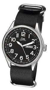 腕時計 ウォッチ キャンバスストラップアラームlmite para hombres reloj correa de lona negro esfera negra 5493 rrp  2999