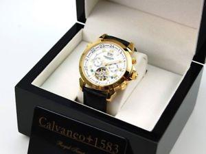 腕時計 ウォッチ ゴールドオープンcalvaneo sonderklasseuhr astonia shiny gold gravedad automtico abierta m unruh