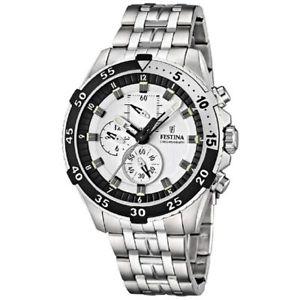 腕時計 ウォッチ クロノグラフシルバービアンコクロノウォッチorologio cronografo uomo festina f166031 acciaio silver bianco chrono watch