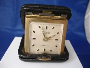 腕時計 ウォッチ デスククロックデラックスドイツロープケースreloj de sobremesa despertador deluxe alemania 1970 cuerda estuche negro