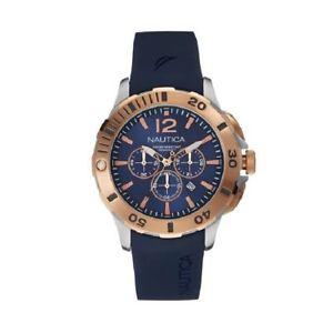 【送料無料】腕時計 ウォッチ クロノグラフナイブルクロノorologio cronografo uomo nautica nai19506g acciaio gomma blu chrono watch silver