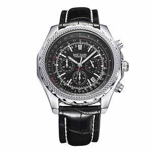 【送料無料】腕時計 ウォッチ カジュアルスポーツクロノグラフカレンダークォーツmegir 2007 men casual sport chronograph calendar leather quartz watch