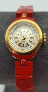 【送料無料】腕時計 ウォッチ ビンテージレディースプラスチックストラップレッドウィルソンスイスvintage wilson swiss reloj de damas 17 joyas correa de plstico rojo inusual raro