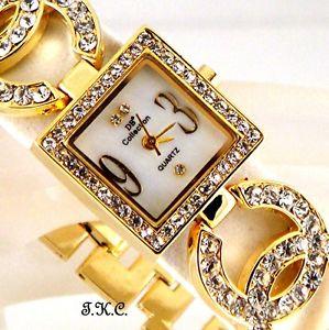 【送料無料】腕時計 ウォッチ ダブルキスドレスデザイナースワロフスキークリスタルseoras oro plateado diseador vestido doble kiss reloj, w swarovski cristal bling