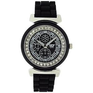 【送料無料】腕時計 ウォッチ レディースクロノブラックベゼルシリコンベルトアラームgolddigga seoras chrono effecct cz set bisel negro correa de silicona reloj dig41b