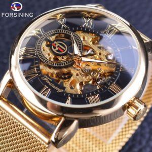 【送料無料】腕時計 ウォッチ ケースファッションロゴゴールデンステンレススチールforsining transparent case fashion 3d logo engraving golden stainless steel
