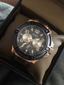 腕時計 ウォッチ メンズクロノグラフローズゴールドシルバーブラウンレザーウォッチストラップnuevo para hombress plateado guess rosa oro crongrafo reloj correa de cuero marrn