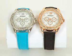 【送料無料】腕時計 ウォッチ クリスタルベゼルボックスカラーティールストラップqvc gossip conjunto de 2 relojes de bisel cristal caja de regalo 2 colores verde azulado y correa