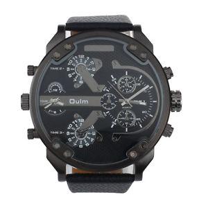 【送料無料】腕時計 ウォッチ バスブレスレットノワールgrosse montre 3 oulm 5cm, bracelet cuir noir boite et coussinet, neuve