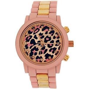 【送料無料】腕時計 ウォッチ レディースピンクスフィアラバーストラップメタルブレスレットsoftech leopardo damas esfera rosa de goma correa reloj pulsera metal b396