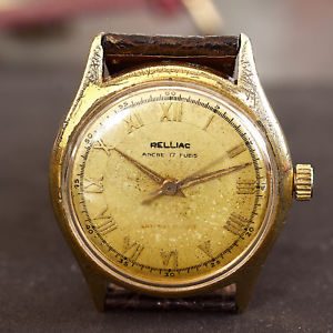 【送料無料】腕時計 ウォッチ ブレスレットmontre mcanique ancienne relliac bracelet croco vritable   a19