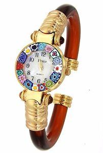 【送料無料】腕時計 ウォッチ オロロジオディムラノウォッチorologio marrone watch in vetro di murano murrina millefiori