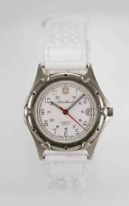 【送料無料】腕時計 ウォッチ エディーバウアーホワイトレザーマンステンレススチールシルバーeddie bauer reloj de hombre cuero blanco acero inoxidable silver100m fecha 24hr