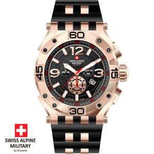 【送料無料】腕時計 ウォッチ スイスアルプスクロノグラフスイスゴムswiss alpine military chronograph 70329867 swiss made rosegold caucho negro