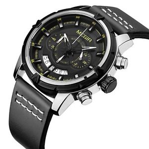 【送料無料】腕時計 ウォッチ megir ml2047 2047 silver quartz watch horloge reloj uhr bk