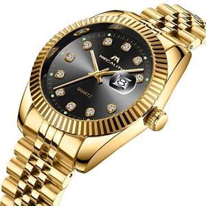 【送料無料】腕時計 ウォッチ ステンレススチールデザイナーpara hombres reloj de oro fecha impermeable de lujo diseador de acero inoxidable reloj de oro 9