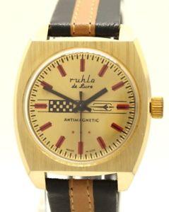 【送料無料】腕時計 ウォッチ ドイツレッドゴールドブラウンブラックruhla de luxe germany reloj pulsera para hombre oro rojo marrn negro kaliber 24