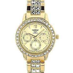 【送料無料】腕時計 ウォッチ ロンドンガラスゴールドベゼルセットブレスレットストラップprince london cristal dorado set bisel amp; pulsera metal correa reloj mujer