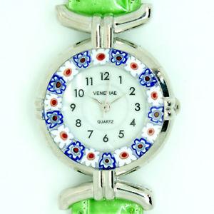 腕時計 ウォッチ ベニスグリーンベルトクォーツムラノガラスmurano vidrio reloj de cuarzo desde venecia con millefiori y verde correa