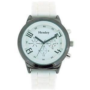 【送料無料】腕時計 ウォッチ ホワイトシリコンストラップクロノグラフウォッチhenley glamour efecto crongrafo blanco correa de silicona reloj mujer h08823