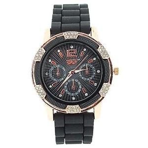 腕時計 ウォッチ ローズゴールドブラックシリコンベルトファッションgolddigga mujer oro rosa cristal negro correa de silicona reloj de moda dig68d